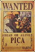 海賊アニメPICA さびた錫のサインヴィンテージアルミニウムプラークアートポスター装飾面白い鉄の絵の個性安全標識警告バースクールカフェガレージの寝室に適しています