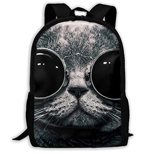 ~ Funny Glasses Cat Backpacks Children Schoolbag Durable Bookbag Rucksack Casual Daypack Knapsack for Elementary Middle School Kid Girls