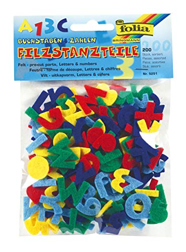 folia 5251 - Filzstanzteile Buchstaben und Zahlen, ca. 2,5 cm hoch, 200 Stück, farbig sortiert - ideal zum Verzieren geeignet