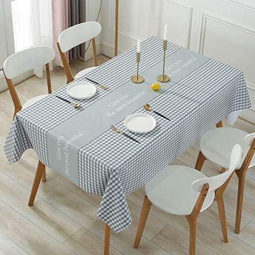 Yinaa Rectangular Mantel de Lavable Estilo Moderno PVC Resistente Al Desgaste y Duradero Tamaño Seleccionable de Cocina Salón Gris 100×160cm