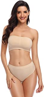 BHRIWRPY Women's Seamless Strapless Bandeau Bra Wire-Free Tube Top Padded Brarette for Ladies