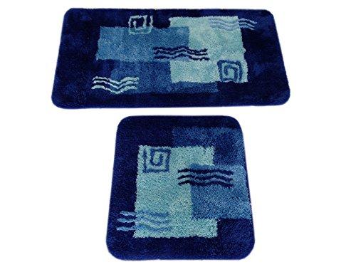 S&S-Shop Badematte Set | Blau | Mailand | 2 teilig | rutschfest | WC-Vorleger 50 x 45 cm | Badvorleger 50 x 90 cm | Badteppich | Teppich | Bad | Badezimmer