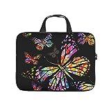 XINGYUE Funda para ordenador portátil, diseño de mariposas coloridas, color negro, con diseño de mariposas