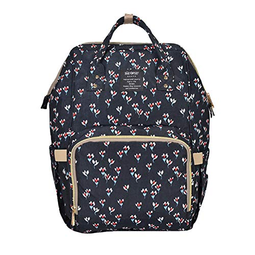 Liveinu Diaper Bag Backpack Baby Care Multi-Function Waterproof Diaper Bags Large-Capacity Travel Backpack with Insulated Pockets Blue Floral Print 2