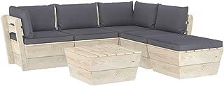 vidaXL Madera de Abeto Muebles de Jardín de Palets 6 Piezas y Cojines Mobiliario Exterior Terraza Casa Cocina Mesa Asiento Silla Suave Respaldo