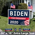 "26"" x 18"" Extra Large Biden For President 2020 Yard Sign - Political Campaign Lawn Sign with Metal Stake Water Resistant Outdoor Joe Biden 2020 Yard Sign with Bumper Sticker and US Flags [26in x 18in]"