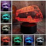 3D Lamparas Patrol Bus LED 7 Cambio de color Luz nocturna Dormitorio Lámpara de noche Decoración Niño Niño Navidad Juguete de Halloween Regalo