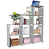 Clewiltess 9 Cube DIY Storage Bookcase,Bookshelf for Kids,Home Furniture Storage Shelves Closet Organizer Rack Cabinet for Bedroom Living Room (Grey)
