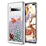 Galaxy S10 Plus Case, CinoCase 3D Creative Liquid Case [Christmas Collection] Flowing Quicksand Moving Stars Glitter Snowflake Christmas Tree Santa Claus Pattern Soft Case for Samsung Galaxy S10 Plus