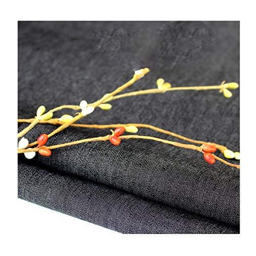 Dunne stretch denim stof 150 cm breed in vier kleuren Zomer rokken shirts spijkerbroek (Color : Black)