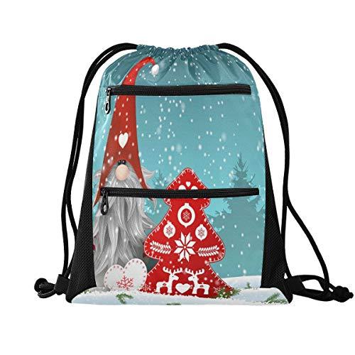 RXYY Weihnachten Nisser In Norwegen Dänemark Tomtar Schweden Tonttu Kordelzug Gym Bag mit Postleitzahl Tasche Sackpack Drawstring Cinch Rucksack Sport Daypack Reise Yoga für Männer Frauen Jung Mädchen