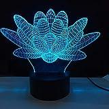 3D Night Light Lotus 3D Illusion Lamp Night Light for Kids 7 Color LED Table Desk Lamps Bedroom Decor LED Light Acrylic Lamp Home Decor Xmas Gift Idea