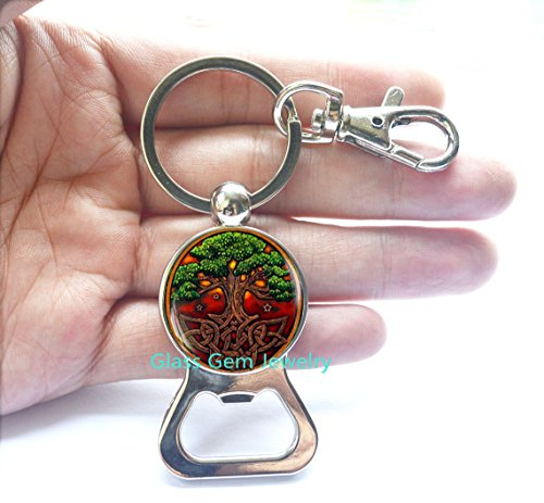 Celtic Knot Bottle Opener Keychain, Celtic Tree Bottle Opener Keychain, Irish Jewelry Bottle Opener, Scandinavian Celtic Pendan, Men's Bottle Opener Keychaint,Q0029