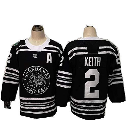 HYQ Duncan Keith # 2 Eishockey Trikots Chicago Blackhawks, Männer Sweatshirts Breath Langarm-T-Shirt Mit Logo/Spielernummer (M-XXXL),Schwarz,M