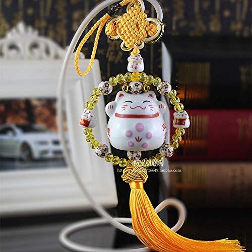 Maneki Neko Feng Shui Ciondolo con gatto in porcellana giapponese tradizionale portafortuna regalo originale...