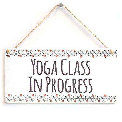 """Meijiafei Yoga Class in Progress - Functional Hanging Home Yoga Teacher Door Plaque 10"""" X 5"""""""