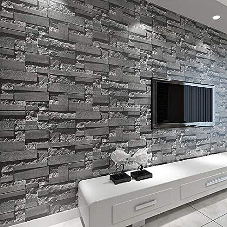 3D Wand Tapete Ziegelstein Wandtapete Steintapete Wohndeko Steinoptik Grau