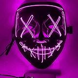 HONGXUNJIE LED Purga Mascara Carnaval Terror MáScaras,MáScara Disfraz Luminosa,para Carnival Navidad Halloween Cosplay Grimace Festival Fiesta Show Mascarada (Pink)