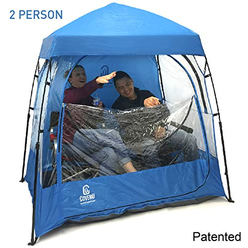 EasyGoProducts CoverU Sports Shelter –Weather Tent Pod – Patents Pending (2 People-Blue)