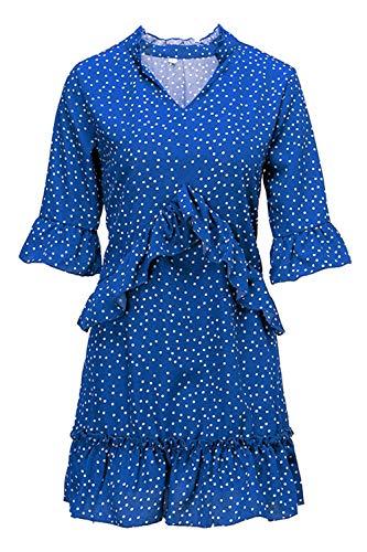MisShow Damen Sommerkleid Rüschen Punkte Clubkleid Sexykleid Royal Blau M