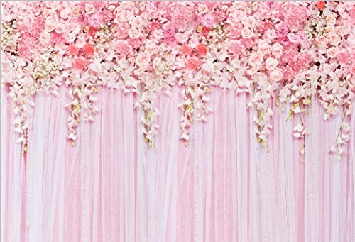 HUAYI 220x150cmLight Pink Backdrop Curtains For Parties Photography Background Baby shower Flower Wall Backdrop Wedding Birthday Party Wall 3d Photo Booth Props Fabric Floral D-9354