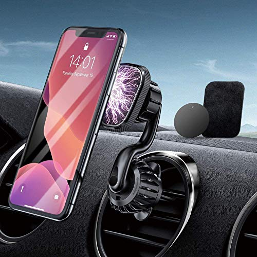 Car Phone Holder Magnetic Phone Car Mount [Upgraded Clip] Phone Holder For Car Magnetic Air Vent Phone Holder Car Compatible with 46.7 inch Smartphone and Tablets car mobile phone holder magnetic