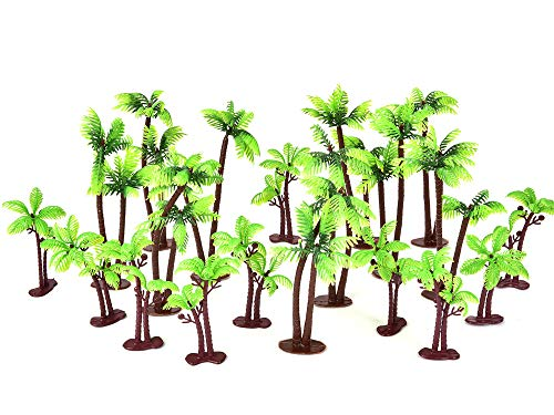 Chougui 20 Pack Palm Tree Cake Topper for Cake Decoration 5.5 and 3.15 Inch, Green Palm Tree with Coconuts Cupcake Topper for Beach, Tropical, Jungle Cake Decorating, Model Trees Diorama Scenery