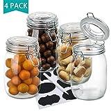 4er Set Gläser mit Bügelverschluss, OAMCEG Einmachglas/Vorratsgläser/Aufbewahrungsgläser 1 Liter...
