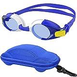 Occhialini da nuoto, occhialini da nuoto per bambini per bambine, occhialini da nuoto in silicone morbido con custodia per auto per 3-12 anni ragazze ragazzi bambini (Blu / Bianca)