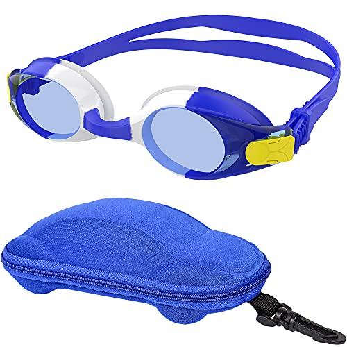 moudou Gafas de natación, Gafas de natación para niños, Gafas de natación de silicona suave con estuche para coche para niñas de 3 a 12 años, niños (Azul / Blanca)