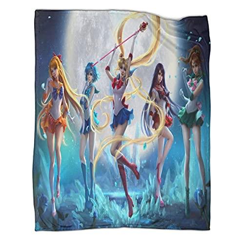 Anime animación manta anime dibujos animados lindo marinero Luna Chibiusa Sailor Chibimoon Kino Makoto Tenoh Haruka Sailor Uranus suave y cómodo manta de lana ligera polar adecuada para viajar