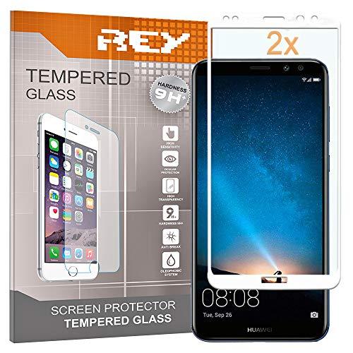 REY Pack 2X Panzerglas Schutzfolie für Huawei Mate 10 LITE, weiß, Displayschutzfolie 9H+, Polycarbonat, Härte, Anti-Kratzen, Anti-Öl, Anti-Bläschen, 3D / 4D / 5D