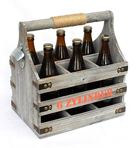 DanDiBo Bierträger mit Flaschenöffner Flaschenträger 6 Zylinder 93540 Flaschenkorb aus Holz Bier