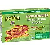 Annie's Homegrown Organic Bunny Fruit Snacks, Sour Bunnies, Cherry, Lemon & Orange, 10 Count