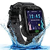 Kids Smart Watch, Waterproof GPS Tracker Smartwatch for Kids, Two-Way-Calling Watch Phone with HD Touchscreen, Camera, Alarm,Game, Christmas Birthday Gifts Toy for 3-12 Years Old Boys and Girls-Black