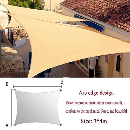 Toldo Vela Rectangular 3x4 Metros Vela Sombra Impermeable HDPE Protección Solar Transpirable Anti UV para Jardín, Balcón y Terraza