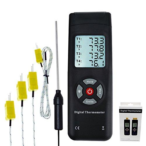 Thermometer 4 Kanäle K-Typ Thermoelement-Sensor-Tester mit K-Typ Metall & Bead Probe Hintergrundbeleuchtung Temperatur Instrument