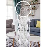 Alynsehom Extra Large Dream Catcher Kids Wall Hanging Decoration Handmade White Feather Boho Big Dreamcatchers with Bells Wedding Dream Catchers Bedroom Craft Ornament Gift (Dia 12', Length 41')