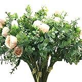 Aisamco 2 pièces Bouquet Artificiel Assorties de Fleurs Faux Rose Branches d'Eucalyptus au Souffle de bébé de 13,8 po de Hauteur pour la décoration de la Table et du Bureau