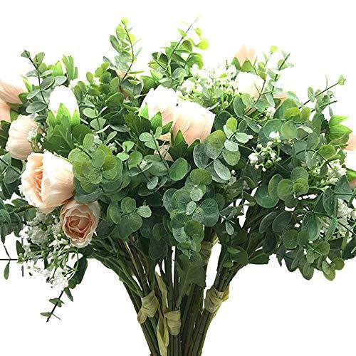 """Aisamco 2 Stück Künstlicher Blumenstrauß Verschiedene Blumen Gefälschte Rose Babys Atem Eukalyptuszweige 13,8 """"Hoch für Tisch Home Office Dekor"""