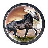 4 pomos para armario de clase de caballos, de estilo árabe, de 35 mm, forma de círculo, cajones de cocina, aparador, armario, tiradores de manijas