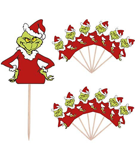 AK Giftshop Grinch Themed Christmas Party Food Cake Cupcakes Picks Sticks Decorations Toppers Stand Up Food Flags ( pack of 14)
