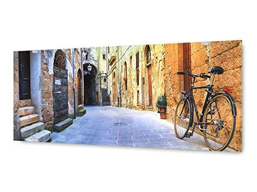 KD Dsign+ glasschilderij muurschildering GLX12577612673 fiets stad 125 x 50 cm/incl. nieuw ophangsysteem