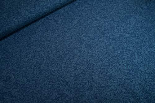 mollipolli-Stoffe Bio Baumwoll Strick Jacquard Ornament Blätter All Over blau dunkelblau by acufactum 0,5m