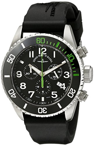 Zeno Divers Men's 46mm Chronograph Black Rubber Quartz Watch...