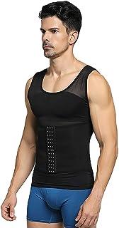 Fajas camisa de los hombres adelgaza la talladora del cuerpo de 2 Piezas sin fisuras chaleco de los hombres de malla trans...
