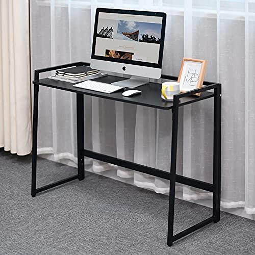 Nowoczesne biurko komputerowe biuro biurko drewniany stół do pisania uniwersalny stojak na laptopa dom biuro meble PC stacja robocza gabinet laptop metalowa rama stalowa łatwy montaż - czarny
