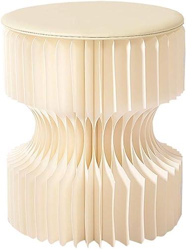 ZHAOYONGLI Tabouret Créatif Simple Rond Tabouret portable Pliant Coiffeuse Maison Design De Mode Sauvage Créatif Forte Durable Longue durée de vie (Couleur   Blanc, taille   30  28cm)