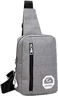 Kwok Portable Headphone Plug Casual Sports Backpack Crossbody Shoulder Bag Chest Bag Shoulder Bag Leisure Bag Mobile Phone Bag Wallet