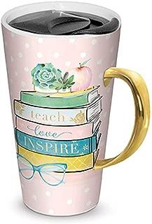 Lady Jane 13oz Spill Proof Ceramic Coffee Travel Mug with Lid Series (Teach, Love, Inspire)